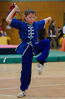 Luka Muhlich performs his routine during the 3rd International Chan Wu, Traditional Kung Fu and Wu Shu Championships in Budapest, Hungary on November 24, 2012. ATTILA VOLGYI