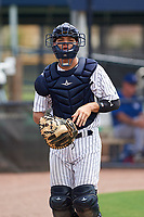 GCL Yankees East catcher Pedro Diaz (53) during the second game of a doubleheader against the GCL Blue Jays on July 24, 2017 at the Yankees Minor League Complex in Tampa, Florida.  GCL Yankees East defeated the GCL Blue Jays 7-3.  (Mike Janes/Four Seam Images)