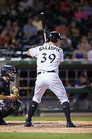 Casey Gillaspie (39) of the Charlotte Knights at bat against the Gwinnett Braves at BB&T BallPark on August 4, 2017 in Charlotte, North Carolina.  The Knights defeated the Braves 7-5 in a game shortened to 8 innings due to rain.  (Brian Westerholt/Four Seam Images)