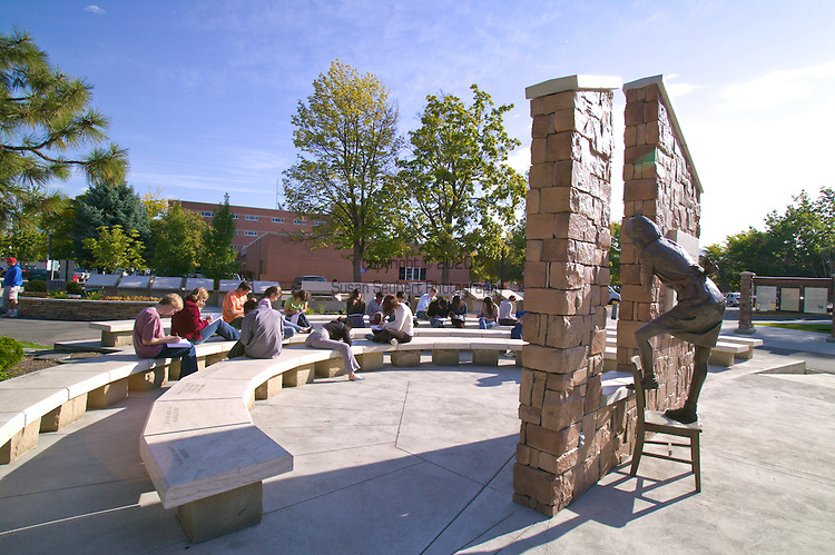 The Idaho Anne Frank Human Rights Memorial is a .81-acre educational park inspired by Anne Frank's faith in humanity.  From the amphitheatre there is a view of the life-size bronze statue of Anne Frank. The sculptor, Greg Stone, cast Anne as if she were pulling back an imaginary curtain and gazing out a window from the family's attic hiding place. Funded largely by the students of Idaho, the names of 44 participating schools are on pavers in the area near the Church Writing Table.