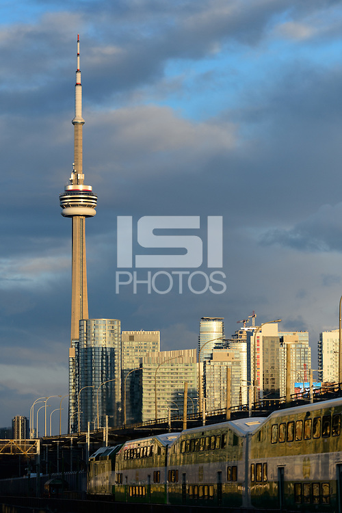 Toronto, ON, Canada - Saturday Dec. 10, 2016: CN Tower prior to the MLS Cup finals at BMO Field. The Seattle Sounders FC defeated Toronto FC on penalty kicks after playing a scoreless game.