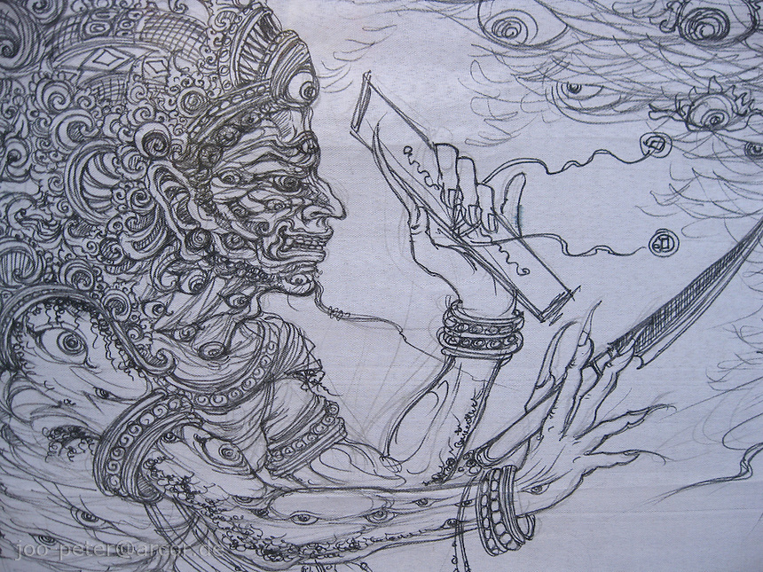 drawing to be burned soon in cremation ceremonies,  showing  lord and secretary of hell, holding the record of the death and soon handing over the passed family members to devine realm, which is the goal of traditional cremation  ceremonies like this one, the drawing was made for inTampak Siring, central Bali, archipelago Indonesia, August 2009