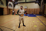BERLIN 12.2016. German Wrestler RAMBO MICHEL BRAUN alias EL COMANDANTE RAMBO during training at GWF Wrestling School in Berlin Neuk&ouml;lln.<br /><br />Other trainers are: Crazy Sexy mike (Hussein Chaer, man with headband) and Ahmed Chaer (man with beard) (Photo by Gregor Zielke)