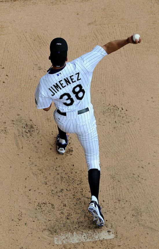 18 JUNE 2011:   Colorado Rockies starting pitcher Ubaldo Jimenez (38) warms up in the bullpen   before a regular season interleage game between the Detroit Tigers and the Colorado Rockies at Coors Field in Denver, Colorado. The Rockies beat the Tigers 5-4.   *****For Editorial Use Only*****