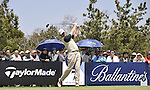 JEJU, SOUTH KOREA - APRIL 25:  Ernie Els of South Africa tees off on the 7th hole during the Round Three of the Ballantine's Championship at Pinx Golf Club on April 25, 2010 in Jeju, South Korea. Photo by Victor Fraile / The Power of Sport Images