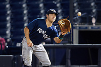 Lakeland Flying Tigers first baseman Dylan Burdeaux (34) catches a throw for the out during the second game of a doubleheader against the Tampa Tarpons on May 31, 2018 at George M. Steinbrenner Field in Tampa, Florida.  Lakeland defeated Tampa 3-2.  (Mike Janes/Four Seam Images)