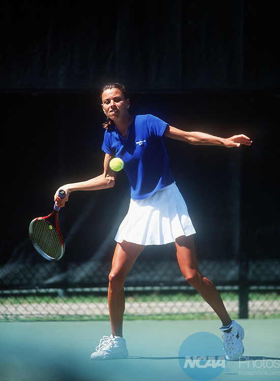"""15 MAY 2000:  of Lynn University nails a forehand during the Division 2 Women's Tennis Championships held at the Ralph """"""""Skeeter"""""""" Carson Tennis Complex on the University of West Florida campus in Pensacola, FL.   BYU-Hawaii defeated Lynn University 5-0 for the championship title.  Gene Sowell/NCAA Photos"""