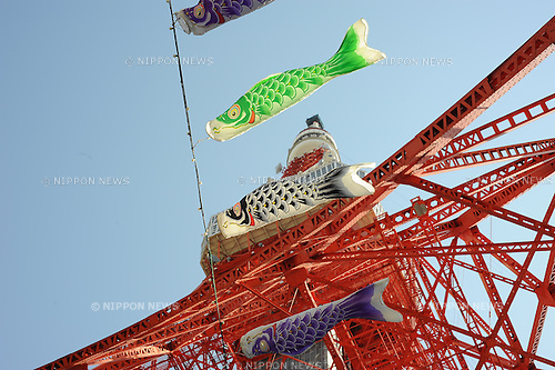 May 05, 2012, Tokyo, Japan - Many people gathered under the Tokyo Tower to assist the Koinobori (meaning the carp streamer) on the fifth of May,  the Children`s Day in Japan. Koinobori are carp-shaped wind socks decorated with carp pattern drawings on paper, cloth or other materials, traditionally flown in Japan to celebrate Children`s Day on the fifth of May. (Photo by Francesco Libassi)