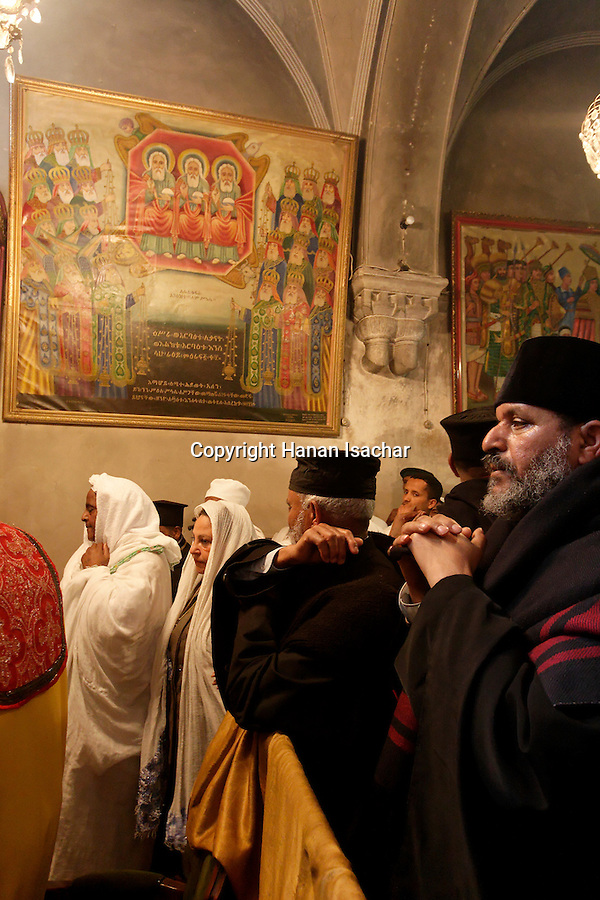 Israel, Jerusalem Old City, at the Ethiopian Orthodox Chapel at the Church of the Holy Sepulchre on Palm Sunday, Easter, 2005<br />