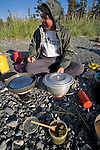 Alaska, Prince William Sound, Elliot Marks, cooking dinner, camping gear, Kayaking campsite, Heather Island, Sea Kayaking,