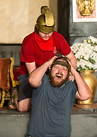A Roman guard (Jacob Johnson) places a crown of thorns on Jesus (J.P. Dean) Tuesday, May 19, 2020, during a rehearsal for the 2020 season at The Great Passion Play in Eureka Springs. The play will open their season Friday with adjustments for cast and audience members to stay within Arkansas Department of Health social distancing guidelines. Go to nwaonline.com/photos to see more photos.<br /> (NWA Democrat-Gazette/Ben Goff)