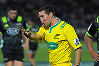 Replacement referee Fererico Anselmi during the Super Rugby match between the Hurricanes and Brumbies at CET Arena in Palmerston North, New Zealand on Friday, 1 March 2019. Photo: Dave Lintott / lintottphoto.co.nz
