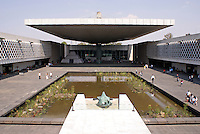 Courtyard of the National Museum of Anthropology or Museo Nacional de Antropologia in Chapultepec Park, Mexico City. This building was designed by Mexican architect Ramirez Vazquez during the 1960's, and it is considered to be one of the finest museums of its kind in the world.