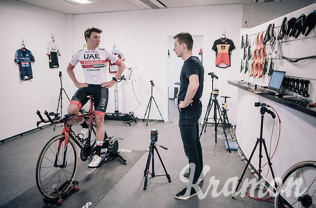 Jasper Philipsen (BEL/UAE-Emirates) in for a bikefit & osteo screening at the Wolf Performance centre in Leuven/Belgium at the start of his debut (as part of  a World Tour team) pro season (january 2019)<br /> <br /> bike fitter: Joris Verreydt <br /> osteo therapist: Frigyes Vanden Auweele<br /> <br /> ©kramon