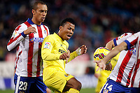Miranda of Atletico de Madrid and Uche of Villarreal during La Liga match between Atletico de Madrid and Villarreal at Vicente Calderon stadium in Madrid, Spain. December 14, 2014. (ALTERPHOTOS/Caro Marin) /NortePhoto