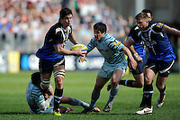 Francois Louw of Bath Rugby is tackled by Toby Flood of Leicester Tigers during the Aviva Premiership match between Bath Rugby and Leicester Tigers at The Recreation Ground on Saturday 20th April 2013 (Photo by Rob Munro)