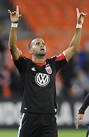 D.C. United forward Maicon Sanrtos (29) celebrates his score in the 70th minute of the game. D.C. United defeated The Houston Dynamo 3-2 at RFK Stadium, Saturday April 28, 2012.