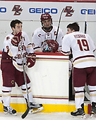 Austin Cangelosi (BC - 9), Chris Calnan (BC - 11) and Ryan Fitzgerald (BC - 19) wait for the other seniors to return to the ice. - The Boston College Eagles defeated the University of Vermont Catamounts 7-4 on Saturday, March 11, 2017, at Kelley Rink to sweep their Hockey East quarterfinal series.The Boston College Eagles defeated the University of Vermont Catamounts 7-4 on Saturday, March 11, 2017, at Kelley Rink to sweep their Hockey East quarterfinal series.