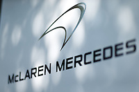March 14, 2014: Signage at the McLaren Mercedes team garage at the 2014 Australian Formula One Grand Prix at Albert Park, Melbourne, Australia. Photo Sydney Low.