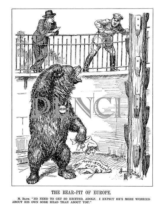 "The Bear-Pit of Europe. M. Blum. ""No need to get so excited, Adolf. I expect he's more worried about his own sore head than about you."""