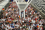 09 June 2006: A flood of fans fills the platform at the subway station on the way to the Arena. Germany played Costa Rica at the Allianz Arena in Munich, Germany in the opening match, a Group A first round game, of the 2006 FIFA World Cup.