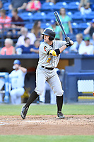 West Virginia Power right fielder Clark Eagan (2) awaits for a pitch during a game against the Asheville Tourists at McCormick Field on May 10, 2017 in Asheville, North Carolina. The Tourists defeated the Power 4-3. (Tony Farlow/Four Seam Images)