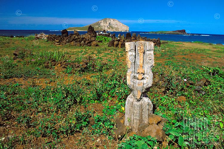 An Hawaiian religious ritual sight near Makapuu Beach Park on the windward side of Oahu.  Makapuu point in background.