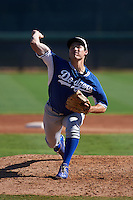 Los Angeles Dodgers pitcher Tommy Bergjans (26) during an instructional league game against the Milwaukee Brewers on October 13, 2015 at Cameblack Ranch in Glendale, Arizona.  (Mike Janes/Four Seam Images)
