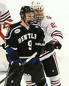 Ryan McMurphy (Bentley - 9), Colton Saucerman (NU - 23) - The visiting Bentley University Falcons defeated the Northeastern University Huskies 3-2 on Friday, October 16, 2015, at Matthews Arena in Boston, Massachusetts.