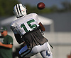 Brandon Marshall #15, New York Jets starting wide receiver, makes a catch during team training camp at Atlantic Health Jets Training Center in Florham Park, NJ on Saturday, Aug. 6, 2016