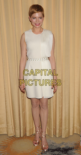 Michelle Williams.Forevermark and In Style 'A Promise of Beauty and Brilliance' held at The Beverly Hills Hotel in Beverly Hills, California, USA..January 10th, 2012.full length white sleeveless dress belt shoes platform gold open toe shoes sandals .CAP/ROT/TM.©Tony Michaels/Roth Stock/Capital Pictures
