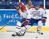 Matt Ferreira (UML - 17), Jake Suter (UML - 28) - The University of Massachusetts-Lowell River Hawks defeated the University of Alabama-Huntsville Chargers 3-0 on Friday, November 25, 2011, at Tsongas Center in Lowell, Massachusetts.
