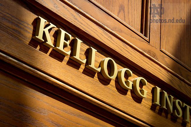 August 30, 2017; Kellogg Institute door in Jenkins Hall (Photo by Matt Cashore/University of Notre Dame)