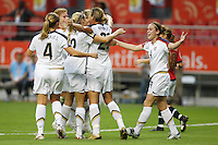 USA players celebrate a goal. The United States (USA) defeated Norway (NOR) 4-1 during the third place match of the Women's World Cup China 2007 at Shanghai Hongkou Football Stadium, Shanghai, China, on September 30, 2007.