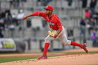 Starting pitcher Adonis Medina (16) of the Lakewood BlueClaws delivers a pitch in a game against the Columbia Fireflies on Friday, May 5, 2017, at Spirit Communications Park in Columbia, South Carolina. Lakewood won, 12-2. (Tom Priddy/Four Seam Images)