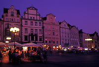 Prague, Czech Republic, Praha, Central Bohemia, Outdoor café in Old Town Square in the city of Prague in the evening.