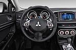 Car pictures of steering wheel view of a 2015 Mitsubishi Lancer  Sportback 5 Door Hatchback