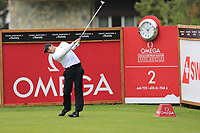 Julian Suri (USA) tees off the 2nd tee during Saturday's Round 3 of the 2017 Omega European Masters held at Golf Club Crans-Sur-Sierre, Crans Montana, Switzerland. 9th September 2017.<br /> Picture: Eoin Clarke | Golffile<br /> <br /> <br /> All photos usage must carry mandatory copyright credit (&copy; Golffile | Eoin Clarke)