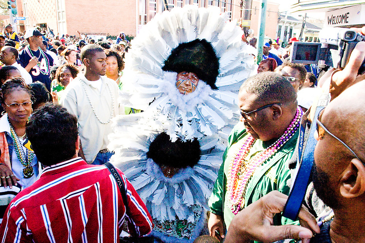 The Golden Comanches Mardi Gras Indians parade uptown in New Orleans on February 28, 2006.