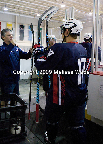Steve Castelletti (US - Equipment Manager), Ryan Bourque (US - 17), David Warsofsky (US - 5) - Team USA defeated Team Russia 6-0 in their final game during the 2009 USA Hockey National Junior Evaluation Camp on Saturday, August 15, 2009, in the USA (NHL-sized) Rink in Lake Placid, New York.