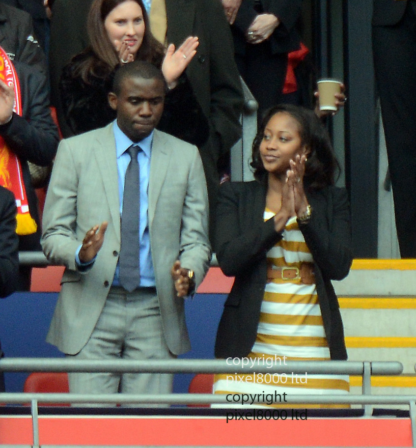 FA Cup final Chelsea v Liverpool Wembley 5.5.12.Fabrice Muamba with his wife Shauna in the crowd....Pic by Gavin Rodgers/Pixel 8000 Ltd