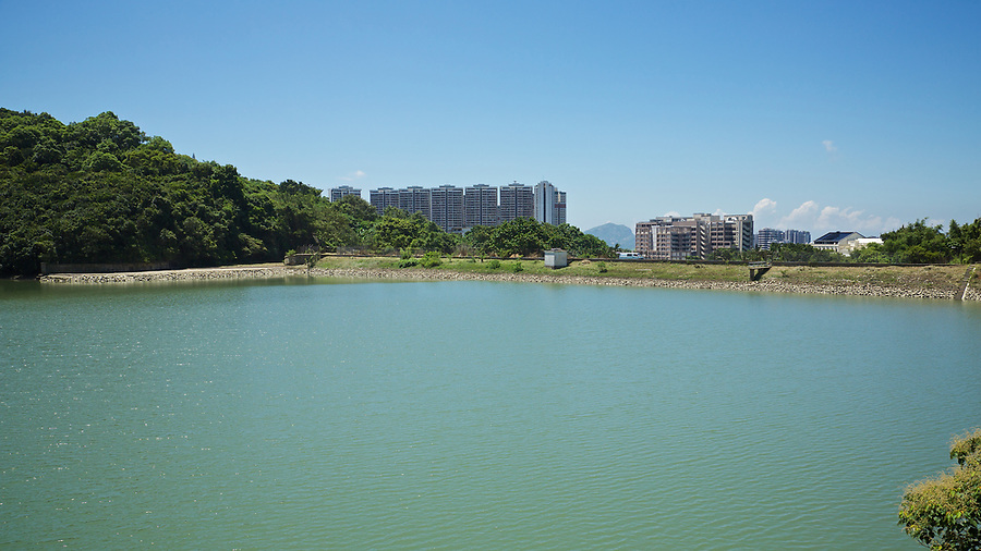 Reservoir and dam wall, Pok Fu Lam Reservoir, Hong Kong Island.