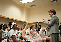 FRESNO, CA--Head Coach Tara VanDerveer addresses her team after a 76-60 win over South Carolina at the Save Mart Center for the West Regionals semifinals of the 2012 NCAA Championships.