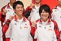 (L to R) Kazuhito Tanaka (JPN), Kohei Uchimura (JPN), September 12, 2011 - Artistic Gymnastics : Kazuhito Tanaka and Kohei Uchimura attend press conference in Tokyo, Japan, regarding the Artistic Gymnastics World Championships 2011 Tokyo. (Photo by Yusuke Nakanishi/AFLO SPORT) [1090]