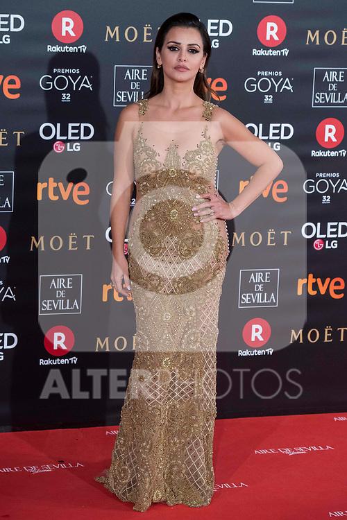 Monica Cruz attends red carpet of Goya Cinema Awards 2018 at Madrid Marriott Auditorium in Madrid , Spain. February 03, 2018. (ALTERPHOTOS/Borja B.Hojas)