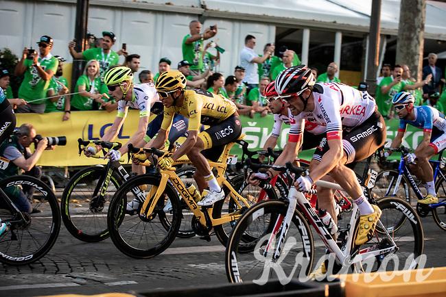 Yellow Jersey Egan Bernal (COL/Ineos) riding the Champs-Elysées cobbles. <br /> <br /> Stage 21: Rambouillet to Paris (128km)<br /> 106th Tour de France 2019 (2.UWT)<br /> <br /> ©kramon
