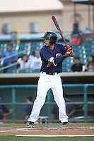 Keach Ballard (16) of the Lancaster JetHawks bats against the Visalia Rawhide at The Hanger on July 6, 2016 in Lancaster, California. Lancaster defeated Visalia, 10-7. (Larry Goren/Four Seam Images)