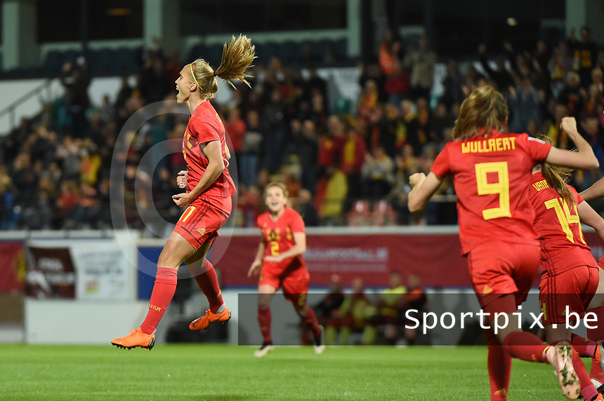 20181005 - LEUVEN , BELGIUM : Belgian Janice Cayman  pictured after scoring the opening goal during the female soccer game between the Belgian Red Flames and Switzerland , the first leg in the semi finals play offs for qualification for the World Championship in France 2019, Friday 5 th october 2018 at OHL Stadion Den Dreef in Leuven , Belgium. PHOTO SPORTPIX.BE | DIRK VUYLSTEKE