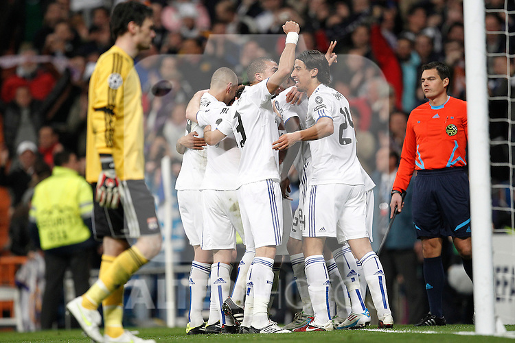 Real Madrid's Angel Di Maria goal during Champions League match in Madrid on March 16th 2011...Photo: Cid-Fuentes / Cebolla / ALFAQUI