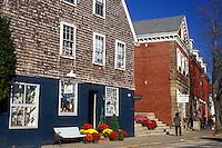 Wickford, Rhode Island, RI, Shops along street in downtown Wickford in the fall.